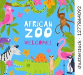 invitation template for a zoo....   Shutterstock .eps vector #1277864092