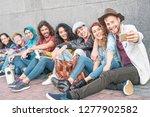 happy diverse friends taking... | Shutterstock . vector #1277902582
