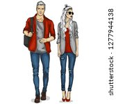 woman and man models dressed... | Shutterstock . vector #1277944138