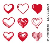 hearts hand drawn flat style... | Shutterstock .eps vector #1277963005