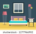 hotel room   interior with bed  ... | Shutterstock .eps vector #1277966902
