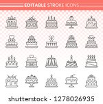 cake thin line icon set.... | Shutterstock .eps vector #1278026935