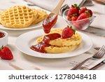 waffles and jam on breakfast... | Shutterstock . vector #1278048418