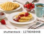 waffles and jam on breakfast... | Shutterstock . vector #1278048448