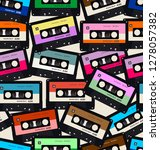 seamless pattern with old audio ... | Shutterstock .eps vector #1278057382