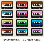 seamless pattern with old audio ... | Shutterstock .eps vector #1278057388