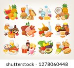 set of food icons arranged in... | Shutterstock .eps vector #1278060448