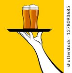 man hand with beers on tray | Shutterstock .eps vector #1278093685