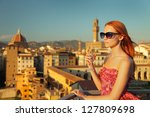 Beautiful Woman And View Of...