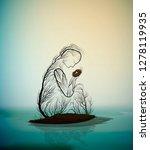 tree silhouette like a woman... | Shutterstock .eps vector #1278119935