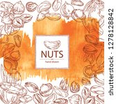 watercolor background with nuts ... | Shutterstock .eps vector #1278128842