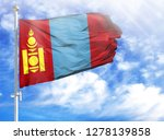 national flag of mongolia on a... | Shutterstock . vector #1278139858