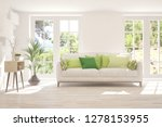 white room with sofa and green... | Shutterstock . vector #1278153955