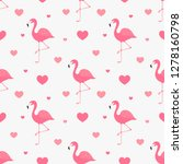 pink flamingo and hearts... | Shutterstock .eps vector #1278160798