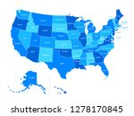 us blue map with state names | Shutterstock .eps vector #1278170845