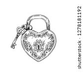 heart shaped padlock and key.... | Shutterstock .eps vector #1278181192