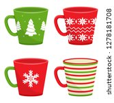 set of winter holiday cups with ... | Shutterstock .eps vector #1278181708
