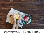 hand holding a cup of hot cocoa ... | Shutterstock . vector #1278214852
