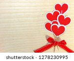 red paper hearts on wooden... | Shutterstock . vector #1278230995
