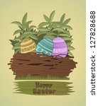 easter eggs. group of colored... | Shutterstock .eps vector #127828688