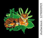 graphic tiger having a rest... | Shutterstock .eps vector #1278303925