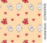cute cartoon romantic seamless... | Shutterstock .eps vector #1278335935