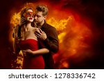 couple hot flaming kiss  man in ...   Shutterstock . vector #1278336742