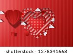 paper origami of heart shapes... | Shutterstock .eps vector #1278341668