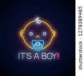 glowing neon sign of baby boy...   Shutterstock .eps vector #1278389485
