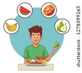 balanced diet young man | Shutterstock .eps vector #1278399265