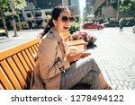 asian girl texting on smart... | Shutterstock . vector #1278494122