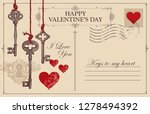 retro valentine card in form of ... | Shutterstock .eps vector #1278494392