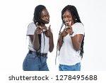 two cheerful african girls...   Shutterstock . vector #1278495688