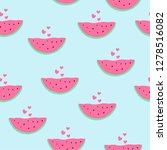 watermelons and hearts. cute...   Shutterstock .eps vector #1278516082