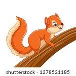 Cartoon Cute Squirrel On The...