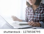 young asian woman work and e... | Shutterstock . vector #1278538795