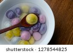 coloured dumplings in bowls | Shutterstock . vector #1278544825