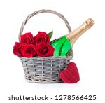 Stock photo valentine s day greeting card with red rose flowers bouquet and champagne isolated on white 1278566425