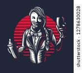 happy woman bartender or barman ... | Shutterstock .eps vector #1278630028