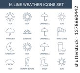 16 weather icons. Trendy weather icons white background. Included line icons such as sun, umbrella, thunder, sun rise, wind cone, crescent, boot. weather icon for web and mobile.