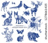 Vintage Sketch Forest Animals...