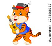 the cute tiger uses the black... | Shutterstock .eps vector #1278668332