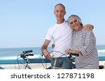 senior couple on a summer... | Shutterstock . vector #127871198