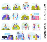 lazy weekends people flat icon... | Shutterstock .eps vector #1278713725