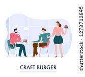 people eating burgers in bistro ... | Shutterstock .eps vector #1278713845