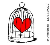red heart is sad in cage for... | Shutterstock .eps vector #1278729322