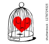 a red heart is sad in the cage... | Shutterstock .eps vector #1278729325