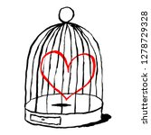 red heart is sad in birds cage... | Shutterstock .eps vector #1278729328