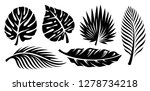 set of palm leaves silhouettes... | Shutterstock .eps vector #1278734218