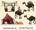 Camel And Arabian Set Vector...